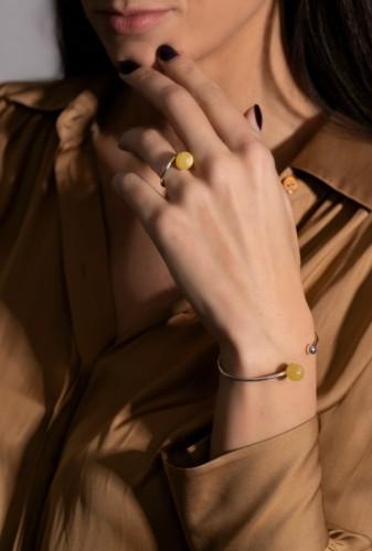 "Ketri Amber Jewelry ring ""Fool moon"" No2"