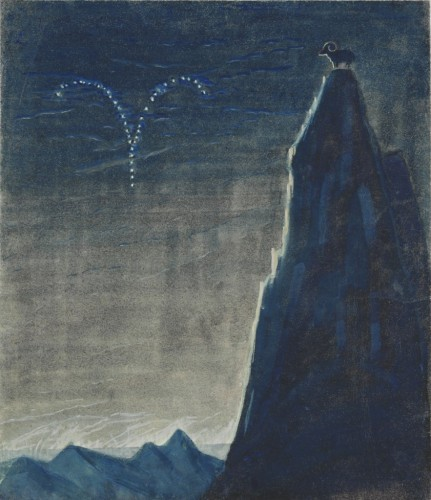 """M. K. Čiurlionis. The Sun is passing the Sign of Aries. III from the Cycle of 12 paintings """"The Zodiac"""""""