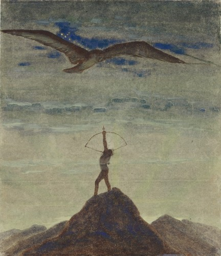 """M. K. Čiurlionis. The Sun is passing the Sign of Sagittarius. XI from the Cycle of 12 paintings """"The Zodiac"""""""