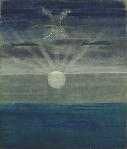 """M. K. Čiurlionis. The Sun is passing the Sign of Pisces. II from the Cycle of 12 paintings """"The Zodiac"""""""