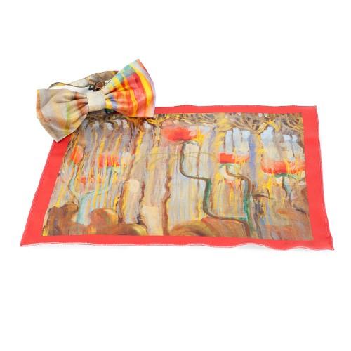 "Silk bow tie and fantasy M. K. Čiurlionis ""Creation of the World IX"""
